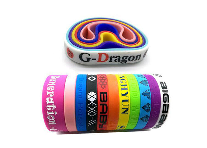 Color Filled Custom Silicone Wristbands Promotional Rubber Wristbands For Sport